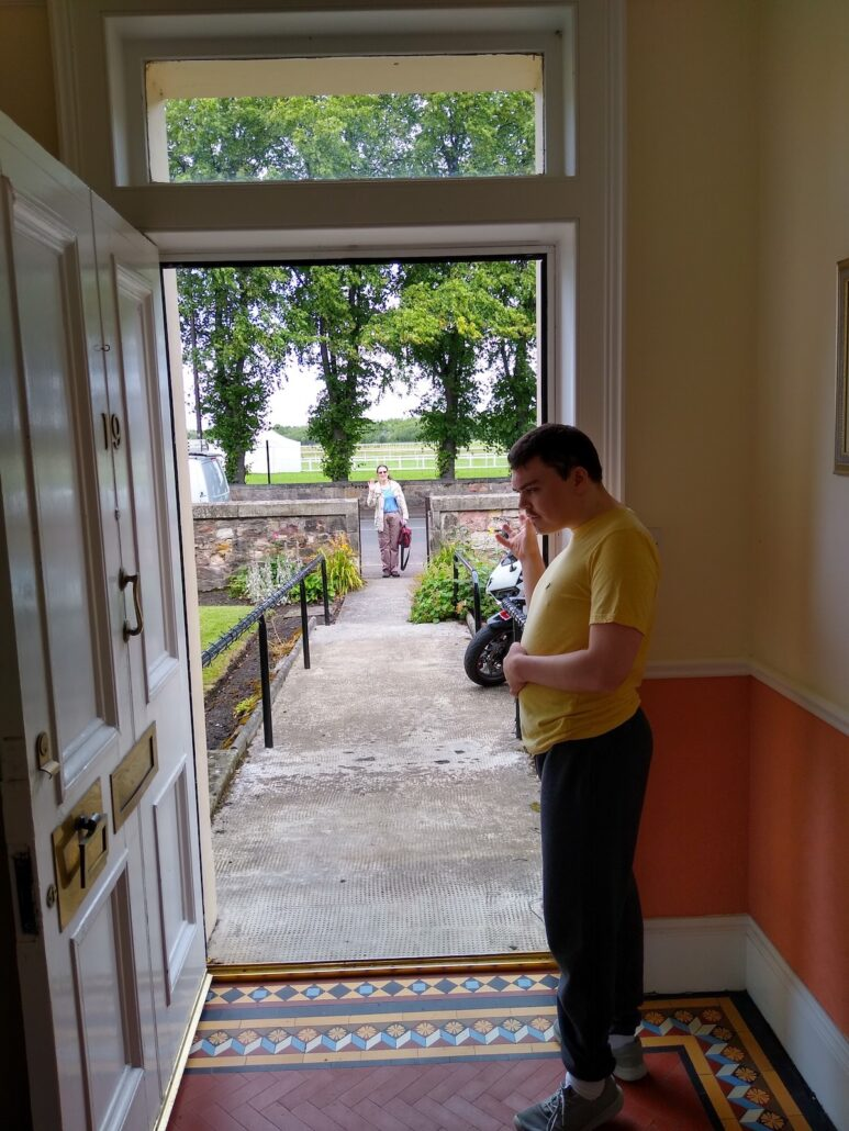 Matthew at front door unable to leave the house