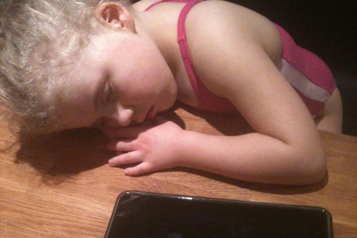 SMS Child asleep whilst up at counter