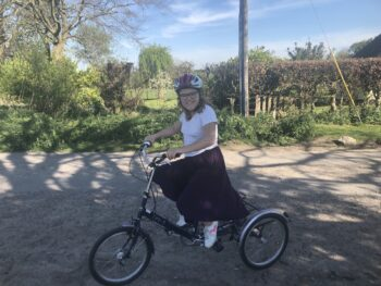 Lily Stevenson on her adapted tricycle