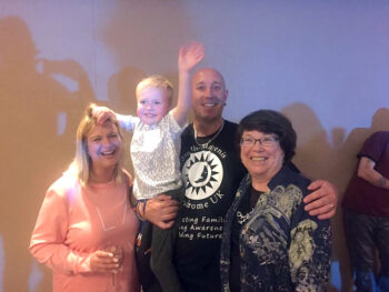 Sue, Riley and Mick Pearson with Ann Smith