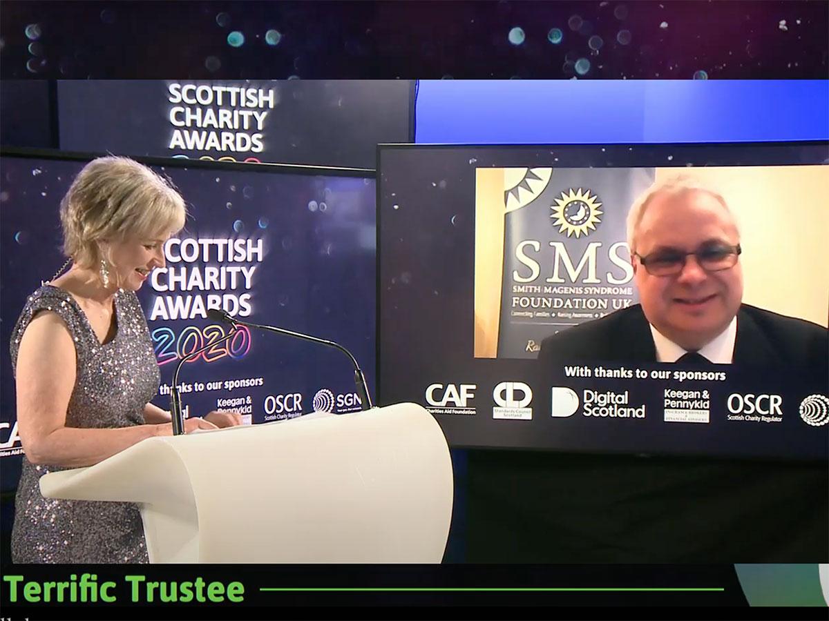 Nigel Over winner of 'Terrific Trustee' at SCVO Charity Awards 2020